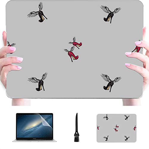 MacBook Pro Case 15 Woman Shoe and Makeup Plastic Hard Shell Compatible Mac Laptop Case MacBook Pro Protection Accessories for MacBook with Mouse Pad