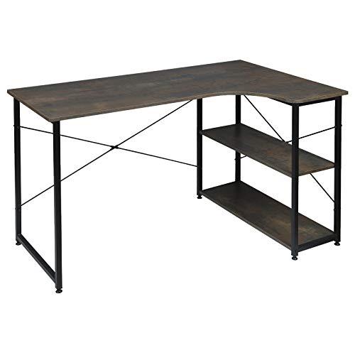 WOLTU TSB06srs Schreibtisch Computertisch Büromöbel PC Tisch Bürotisch Arbeitstisch aus Holz und Stahl, mit Ablage, ca 120x74x71,5 cm Schwarz+Rostfarbe