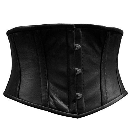 UI Waist Cincher Waspie Underbust Full Steel Boned Black Leather Corset (Black, 2XL)