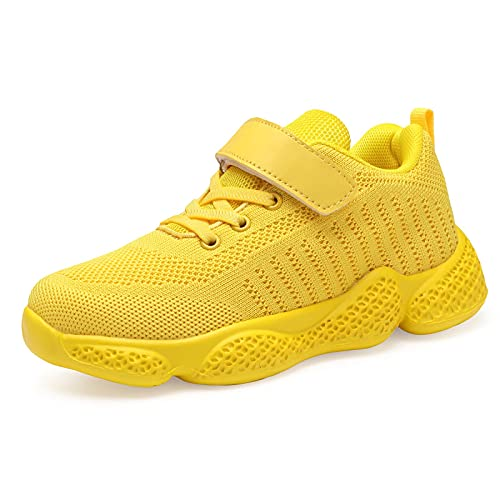 Voxge Boys Running Shoes Girls Sneakers Athletic Lightweight Tennis Sports Shoes for Big Kids All Yellow Size 4