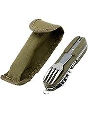 Beikal Klapservies, roestvrij staal outdoor camping servies, afneembaar 7-in-1 multifunctioneel gereedschap