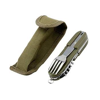 Beikalone Vaisselle pliante en acier inoxydable pour camping en plein air - Outil multifonction 7-en-1, amovible