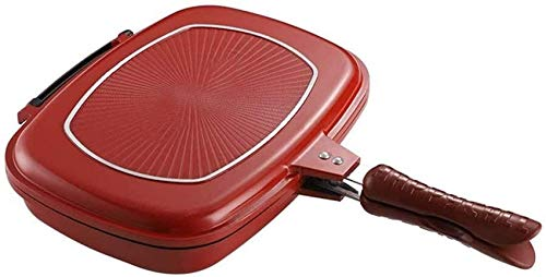 UYZ Sartén para Parrilla de Barbacoa de Doble Cara, una sartén Antiadherente portátil para cocinar con Barbacoa con Mango Anti-Quemaduras, para sartén Cuadrada para Tortillas en la Cocina