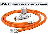 Anschluss-Set bestehend aus Druckminderer 50-200 mbar (stufenlos regelbar) + Gasschlauch 80 cm ( für geeignete Gasgeräte / Gaskocher, Gasherd, Hockerkocher, Campingkocher Heizung Heizofen...