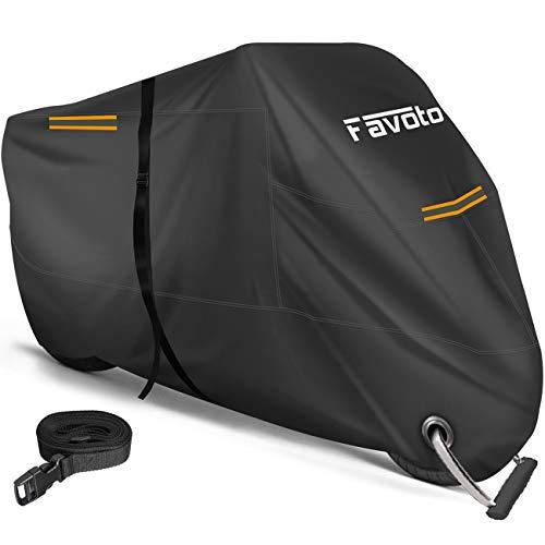 Favoto 改良版 バイクカバー 2.5m防風ベルト付き ワンタッチバックル前後付き 反射ストライプ3枚 UVカッ...