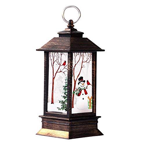Yusea Farolillo de nieve LED, iluminación navideña, portátil, pequeño lámpara de aceite de escritorio, vintage, lámpara de techo LED, farol de día de fiesta y escena de paz