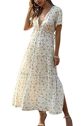 Minetom Robe Col V Fleur Manches Courtes Imprimé Floral Longue Décontracté Manche Courte Robes Ete Plage Maxi Robe D Blanc XS