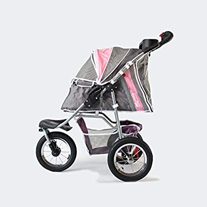 Pet Stroller,IPS-040,Grey/Pink/Lila, dog carrier, trolley, Trailer, Innopet, Buggy Comfort with Airfilled Tyres. Foldable pet buggy, pushchair, pram for dogs and cats 3