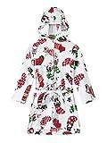 dPois Unisex Albornoz para Niños Bata con Capucha Toalla del Baño Invierno Estampado de Alces y Navidad Pijama de Felpa Ropa de Dormir Niña Blanco 10-11 años