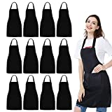 NOBONDO 12 Pack Bib Apron - Unisex Black Apron Bulk with 2 Roomy Pockets Machine Washable for Kitchen Crafting BBQ Drawing