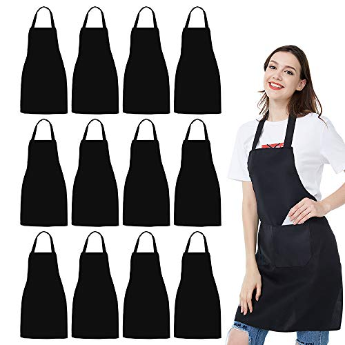 12 Pack Bib Apron  Unisex Black Apron Bulk with 2 Roomy Pockets Machine Washable for Kitchen Crafting BBQ Drawing