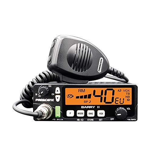 Radio CB President Barry II ASC AM/FM, Roger Beep, NB, ANL, Port USB, VOX, 12 V / 24 V.