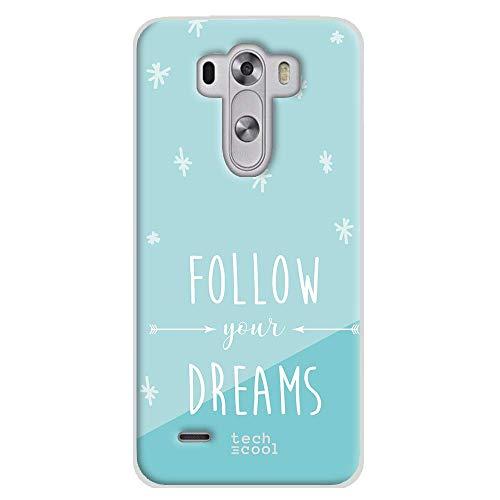 Funnytech Funda Silicona para LG G3 [Gel Silicona Flexible, Diseño Exclusivo] Frase Follow Your Dreams Fondo Azul Celeste