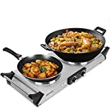 <span class='highlight'><span class='highlight'>Duronic</span></span> Hot Plate HP2SS | Table-Top Cooking | 2500W | Stainless-Steel Electric Single Hob with Handles | 2 Cast Iron Portable Hob Rings (1500W & 1000W) | For Warming, Cooking, Boiling, Frying, Simmering