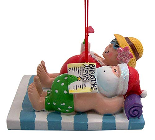 Wowser Santa and Mrs. Claus at The Beach Ornament, Vacation Themed Decoration, 2 1/2 Inches