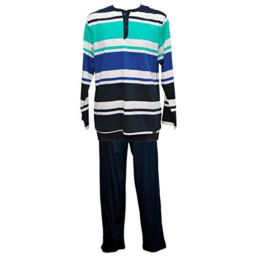 Jockey Herren Pyjama lang Schlafanzug Jersey Reine Baumwolle Comfort Fit, Farbe:Navy;Groesse:S