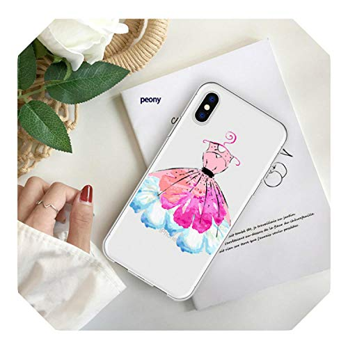 Patroon Cartoon Leuke Trouwjurk Telefoonhoesje Coque Voor Iphone Xr 6 6S Plus X 5 Se Plus Heldere Telefoon Cover Voor Iphone 8 7 Plus, for iPhone XS, A200750