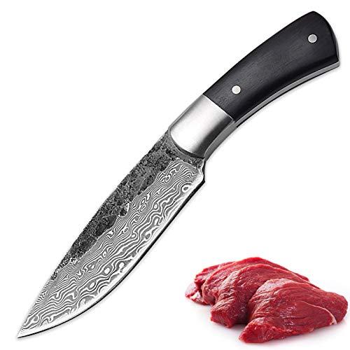 Cuchillo de caza forjado a mano Blade fijo Damasco Patrón de Camping Pesca al aire libre Bbq Cocina Herramientas for el hogar Gadget de utilidad Alto Carbono juego de cuchillos de cuchillo