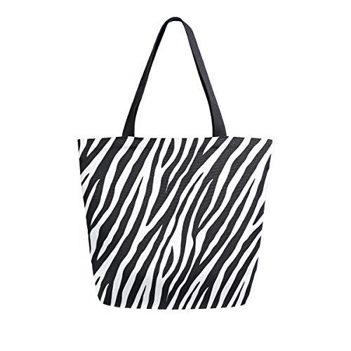 ZZXXB - Bolsa de compras reutilizable con estampado de cebra para mujer