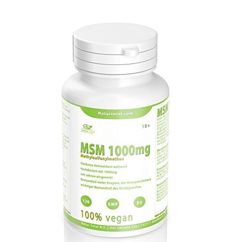 MSM Pulver hochdosiert reine MSM Tabletten - 120 Stück - hochdosiert mit 1000mg - vegan - Premium Qualität hergestellt in UK - Garantiert Glutenfrei