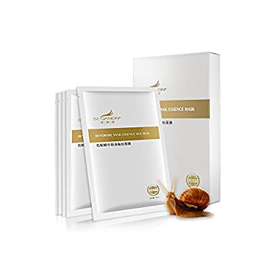 STQANON Deep Moisturizing Rich Snail Essence Facial Mask sheet (pack of 5) 100% Silk sheet, Brightening, Anti-aging, Anti-Wrinkle, Deep Hydration, Snail Secretion Filtrate