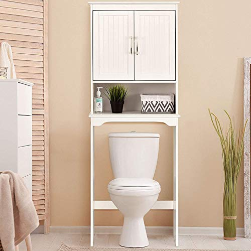 Nightcore Bathroom Storage Rack Over The Toilet, Toilet Organizer with a Open Space, Space Saver Cabinet, Sturdy and Durable Bathroom Shelf, White