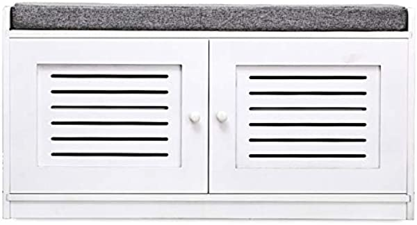 Leoneva White Entryway Shoe Cube Storage Bench With Cushion 4 Grids
