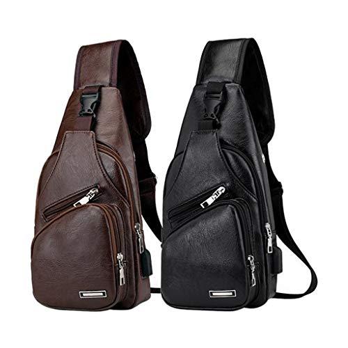 Sharplace 2Pcs Escuela de Cuero Deportes Sling Bag Hombro Pecho Crossbody Bag Outdoor