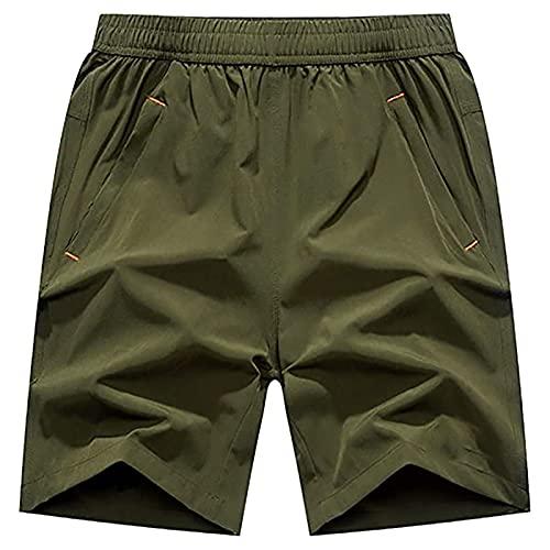 NXWL Pantalones Cortos Deportivos para Hombre, Pantalones de Hombre con Cordón y Cremallera para Los Bolsillos,Verde,XL