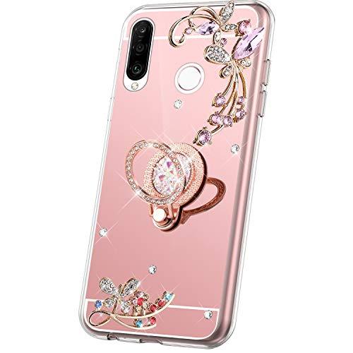 JAWSEU Compatible avec Huawei P30 Lite Coque Miroir Silicone,Cristal Brillant Bling Glitter Miroir Housse[Support de Bague]Souple TPU Fleur Papillon Paillettes Strass Diamant Case,or rose