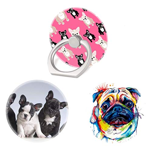 (3 Pack) Mobile Phone Ring Holder Finger Grip,French Bulldogs Puppy Dog Bug Cell Phone Stand Collapsible Kickstand Compatible with All Smartphone