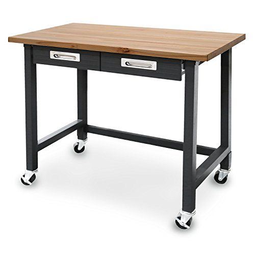 Seville Classics UltraGraphite Commercial Heavy-Duty Wood Top Workbench with Metal Drawers
