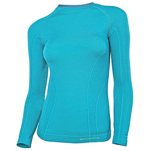 BRUBECK Langarmshirt für Damen | Cycling Base Layer Women | Funktionswäsche Radsport | atmungsaktives Funktionsshirt Langarm Mädchen | Radfahren | 41% Merino I Gr. S; Emerald I Active Wool