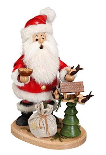 DWU Original Erzgebirgischer Räuchermann® Weihnachtsmann mit Vogelhaus- inkl. Original Crottendorfer Räucherkerzen #13602