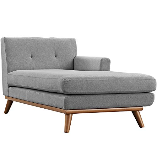 Modway Engage Mid-Century Modern Upholstered Fabric Right-Arm Chaise in Expectation Gray