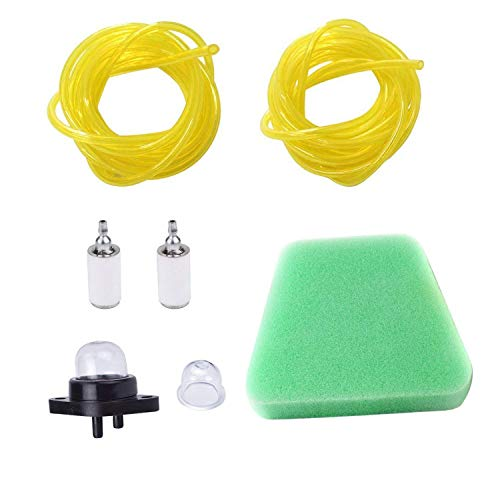 Podoy 530095646 Fuel Filter 530037793 Air Filter 0.08' x 0.14' 3/32 x 3/16 Fuel Line Hose Kit with Primer Bulb for Compatible with Poulan Craftsman Chainsaw