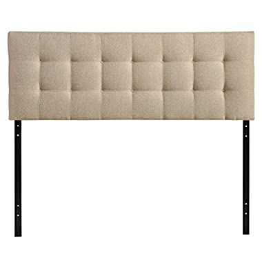 Modway Lily Upholstered Tufted Fabric Headboard Queen Size In Beige