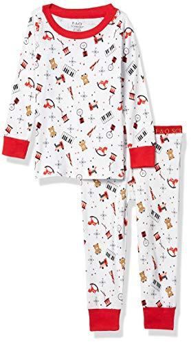 FAO Schwarz Boys' Kids' Sleepwear Long Sleeve Top and Bottom Soft Cotton Pajama Set, Piano, 2T