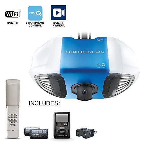 Chamberlain B4545 Secure View Video 3/4 HP Garage Door Opener, Blue