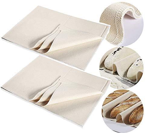 kkkkk 2PCS Hochwertiges Dickes Bäcker-Baumwoll -Leinen 75 x 45 cm- aus 100% unbehandeltem Naturleinen zum Backen von Gärung, Teig, Wirbeltuch usw