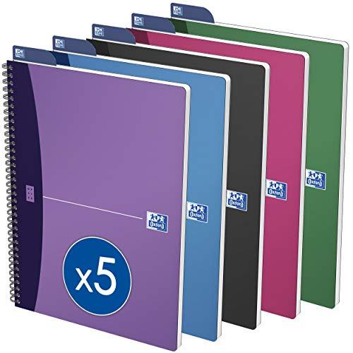 Preisvergleich Produktbild Oxford Urban Mix Spiralbuch A4,  kariertes Notizbuch,  5 Farben