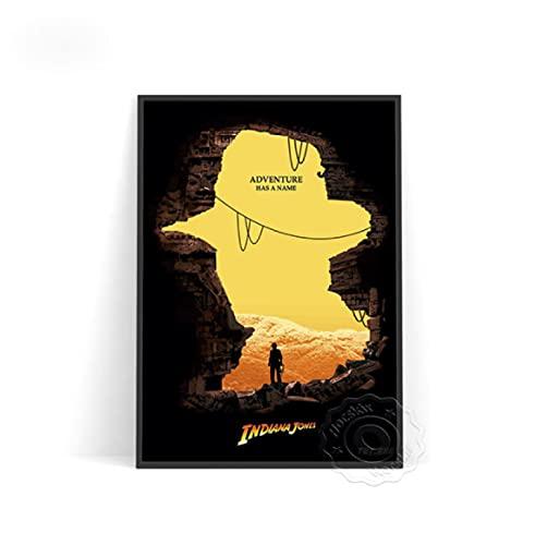 Película Indiana Jones póster vintage decoración de pared personajes imágenes retro lienzo arte para sala de estar decoración del hogar -50x70cm sin marco