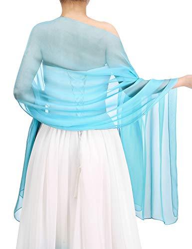 Bbonlinedress Schal Chiffon Stola Scarves in verschiedenen Farben Blue 190cmX70cm