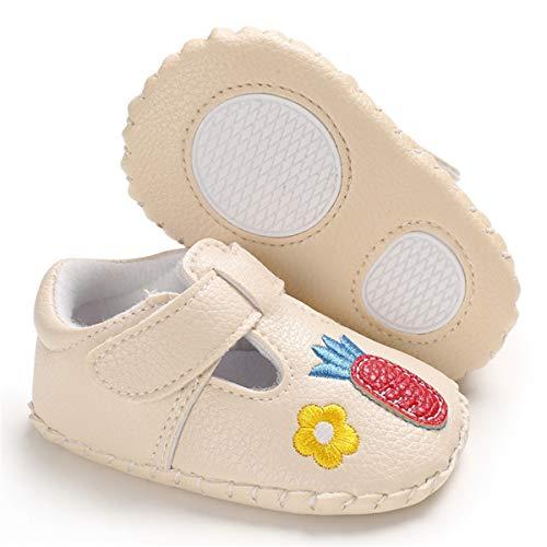 Sapato infantil para bebês meninas Mary Jane da CENCIRILY, sola leve, macia, antiderrapante, Princesa, A05-beige+carrot, 3-6 Months Infant