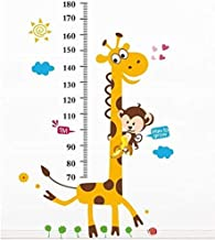 Cartoon Giraffe Kids Growth Chart Height Measure For Home/kids Rooms Diy Wall Stickers