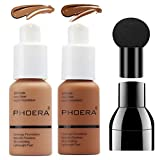 PHOERA Foundation Makeup Set, Firstfly Matte Oil Control Concealer Foundation Cream, Long Lasting Waterproof Matte Liquid Foundation with Mushroon Head(107&109)