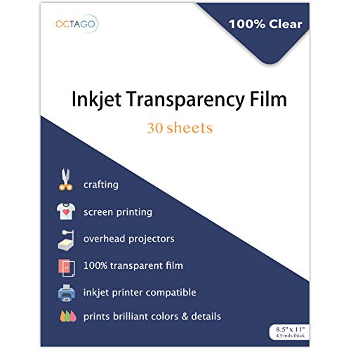 Octago Inkjet Transparency Paper (30 Pack) 100% Clear Transparency Film for Inkjet Printers - Print Color Transparency Sheets for Overhead Projector Transparencies and Screen Prints (8.5x11 Inches)