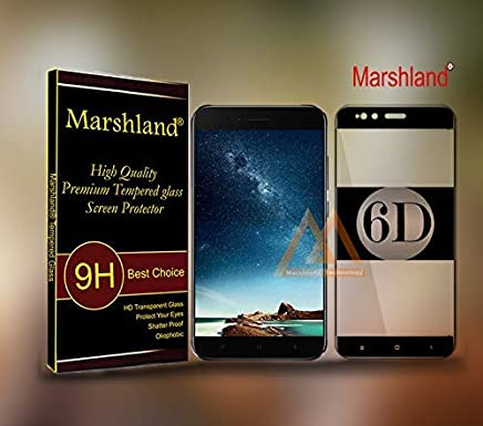 Marshland 6D Full Glue Tempered Glass Anti Scratch Bubble Crystal Clear Free Screen Protector Compatible for Xiaomi MI A1 / Mi 5X (Black)