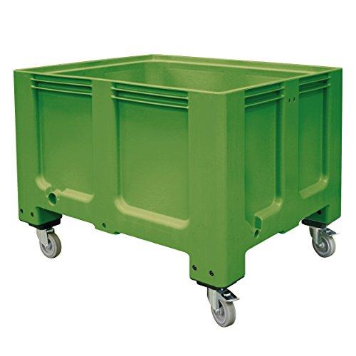 Palettenbox mit 4 Rollen, LxBxH 1200 x 1000 x 915 mm, für Tiefkühlhäuser geeignet, grün