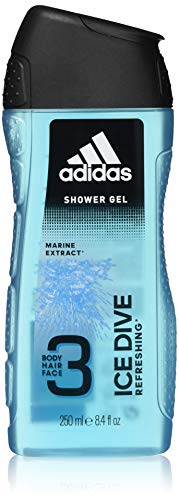 Adidas - Gel Douche Parfumant 3 en 1 pour Homme Ice Dive - Rafraichissant - Shampoing - Multi-Bénéfices - 250ml